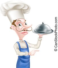 Pointing Cloche Chef - An illustration of a cartoon chef...