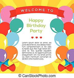 Colorful Balloons Frame Template.