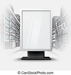 Blank white vertical billboard on city scape blueprint, with...