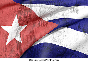 cuba flag - 3d rendering of an old and dirty Cuba flag