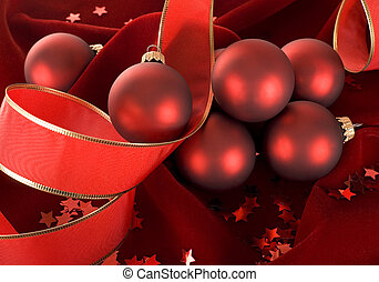 red Christmas decorations - beautiful red ornaments on dark...