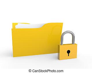 3d folder and padlock