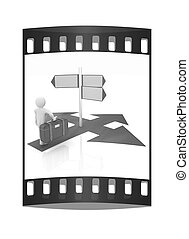 Traffic sign with 3d person The film strip - Traffic sign...