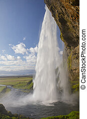 Seljalandsfoss waterfall - Close-up of Seljalandsfoss...