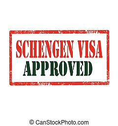 Schengen Visa - Grunge rubber stamp with text Schengen...