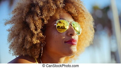 Close Up Portrait of Exotic Girl with Afro Haircut - Close...