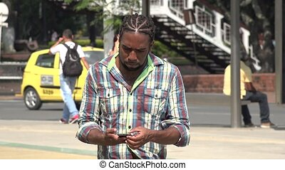 Angry Man Using Cell Phone, Cellular, Mobile Phone