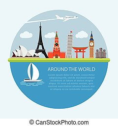 Vector illustration of flat design composition with world famous landmarks icons