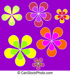 Floral sixties background - Sixties style background...