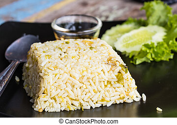 mixed cooked rice - close up mixed cooked rice with fried...