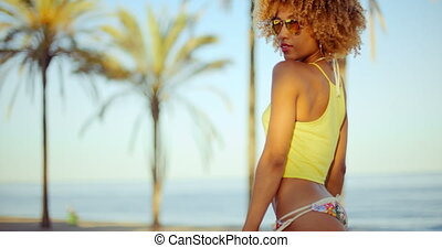 Sensual Afro American Girl Posing on The Beach - Sensual...