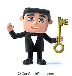 3d Bow tie spy has the gold key - 3d render of a man in a...