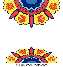 Ornamental border flowers silhouette pattern, colorful...