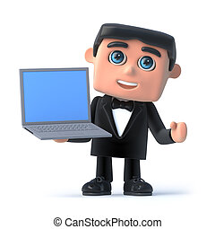 3d Bow tie spy has a laptop - 3d render of a man in a tuxedo...