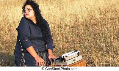Funny Woman Author Waiting For Inspiration At Nature