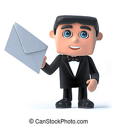 3d Bow tie spy has mail - 3d render of a man in a tuxedo and...