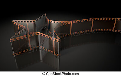 Film Strip Shooting Star Curled - A strip of blank old...