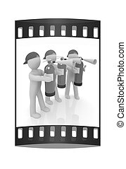 3d mans with red fire extinguisher The film strip - 3d mans...