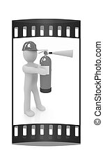 3d man in hardhat with red fire extinguisher. The film strip...