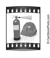 Red fire extinguisher and hardhat The film strip - Red fire...