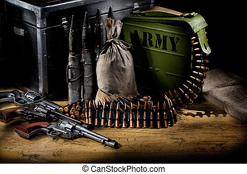 Military Still Life - Still life of military armament,...