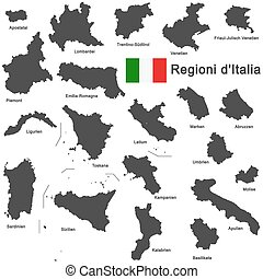 Italia and regions - silhouettes of european country Italia...