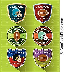 Fantasy Football Emblems and Badges Set - A set of flat...