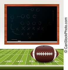 American Football on Field with Chalkboard - An illustration...