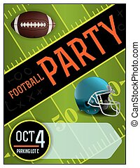 American Football Party Poster Illustration - An...