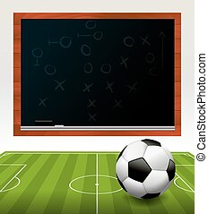 Soccer Ball on Field with Chalkboard Illustration - A soccer...