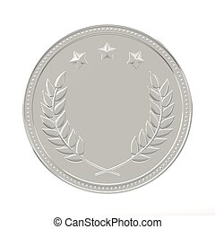 Silver Medal - Silver medal with laurels and stars Round...