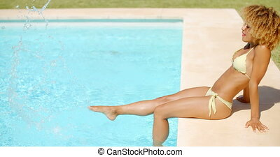 Girl in Bikini Swimsuit Relaxing in Swimming Pool - Slow...