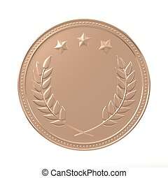 Bronze Medal - Bronze medal with laurels and stars Round...