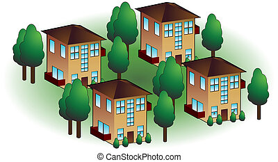 Neighborhood Apartments - Neighborhood apartments isolated...