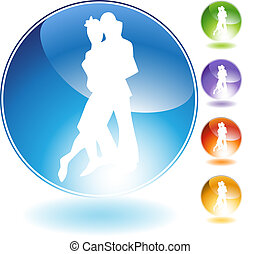 Dancing People Crystal Icon