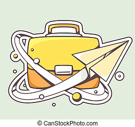 illustration of paper plane flying around yellow briefcase...