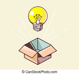 illustration of opened box and yellow lightbulb on color...