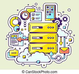 color illustration of server operation on light background.