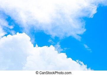 agradable, nube, y, azul, cielo,