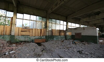 abandoned derelict industrial premises - Panning in an...
