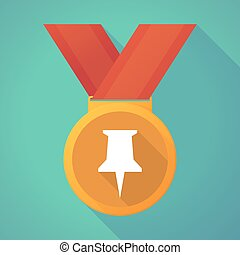 long shadow medal with a push pin