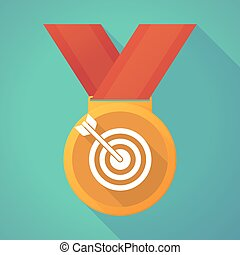 long shadow medal with a dart board - Illustration of a long...