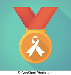 long shadow medal with an awareness ribbon