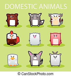 Domestic animals - Illustration of cute domestic animals on...