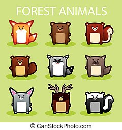 Forest animals - Illustration of cute forest animals on...