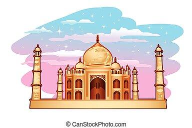 Taj Mahal - Illustration of Taj Mahal with blue purple sky