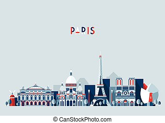 Paris France city skyline vector Flat trendy
