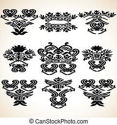 Set vector graphic vintage floral e
