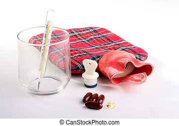 Medical hot-water bottle with a stopper and a thermometer...