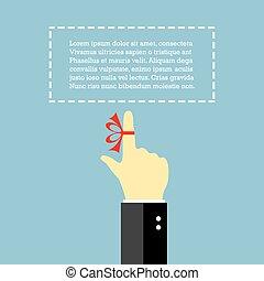 Finger with string, reminder poster design